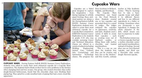 "A screen grab of a news article that is titled ""Cupcake Wars"" that has a picture of a student piping frosting on cupcakes"
